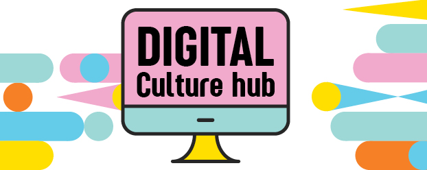 Drawing of a computer screen with the words Digital Culture Hub